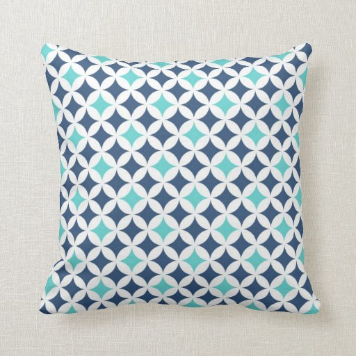 teal blue geometric pattern decorative pillow