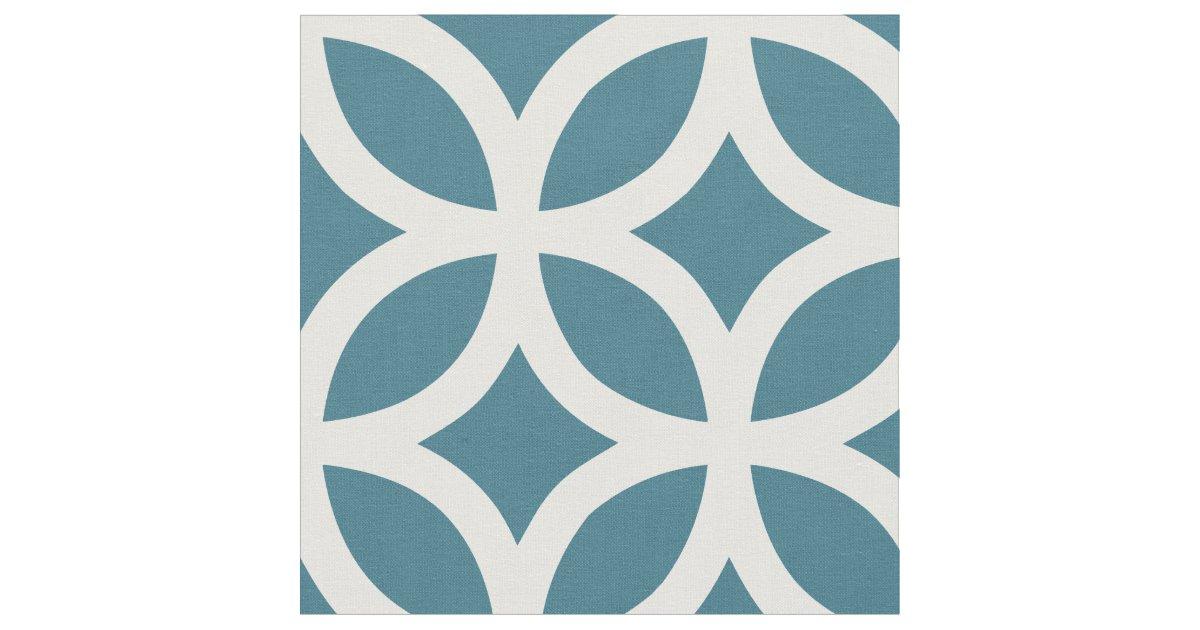 Teal Blue Geometric Pattern Fabric | Zazzle