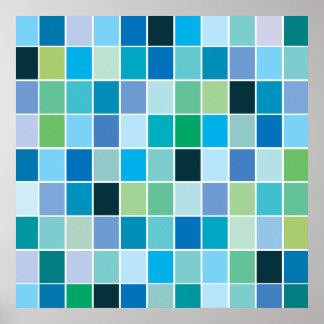 Teal Blue Geometric Pattern Poster
