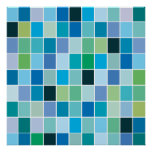 Teal Blue Geometric Pattern Posters