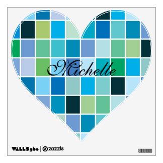 Teal Blue Geometric Pattern Wall Sticker