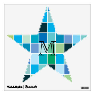 Teal Blue Geometric Pattern Wall Graphic