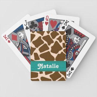 Teal Blue Giraffe Print Bicycle Card Deck
