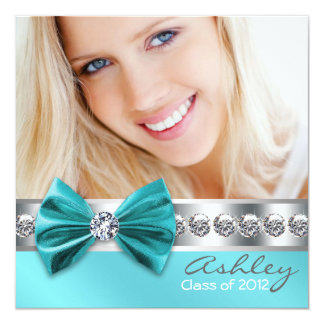 Teal Blue Girl Photo Graduation Announcement