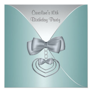 Teal Blue Girls 10th Birthday Party 5.25x5.25 Square Paper Invitation Card