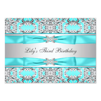 Teal Blue Girls Birthday Party Invitation