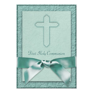 Teal Blue Girls First Communion Invitation