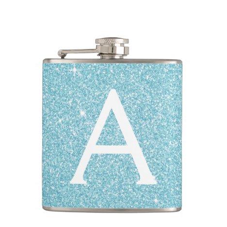 Teal Blue Glitter and Sparkle Monogram Flask