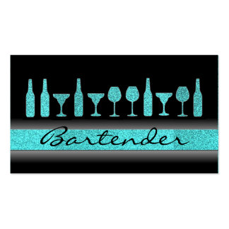 Teal blue glitter bartender drinks business card