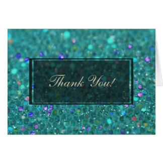 Teal Blue Glitter Card