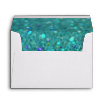 Teal Blue Glitter Envelope