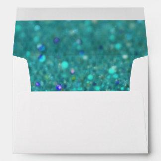 Teal Blue Glitter Envelope