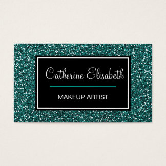 Teal Blue Glitter, Girly, Pretty, Sparkly, Business Card