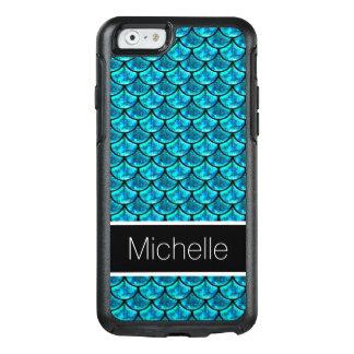 Teal Blue Glitter Glass Black Mermaid Scales OtterBox iPhone 6/6s Case