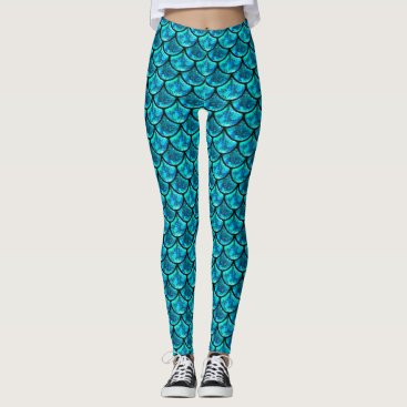 Beach Themed Teal Blue Glitter Glass Mermaid Scales Modern Leggings