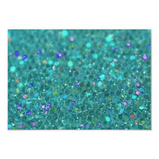 Teal Blue Glitter 3.5x5 Paper Invitation Card