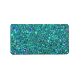 Teal Blue Glitter Address Label