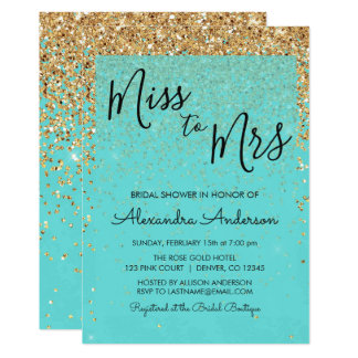 Teal Blue Glitter Miss to Mrs Bridal Shower Invitation