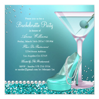 Teal Blue Glitter Pearl Bachelorette Party Invite