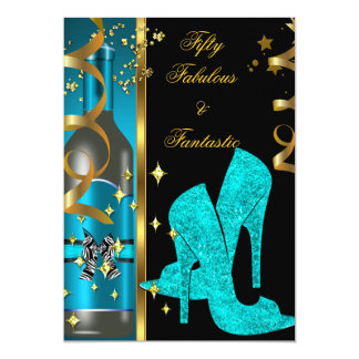 Teal Blue Gold 50 & Fabulous Fantastic Birthday 5x7 Paper Invitation Card