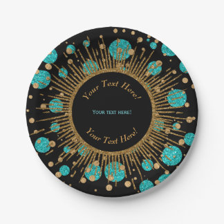 Teal Blue Gold Birthday Party 7 Inch Paper Plate