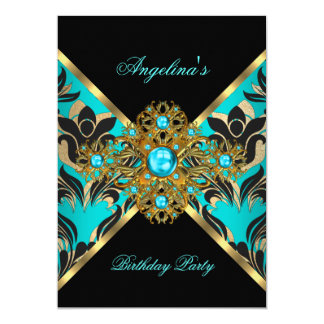 Teal Blue Gold Black Damask Floral Birthday Party Card
