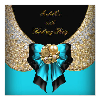 Teal Blue Gold Black Elegant Birthday Party Card
