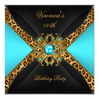 Teal Blue Gold Black Leopard Jewel Birthday Party Card