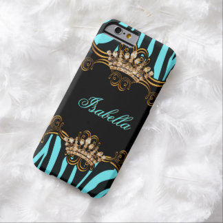 Teal Blue Gold Bronze Tiara Crown Zebra Barely There iPhone 6 Case