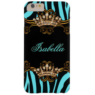 Teal Blue Gold Bronze Tiara Crown Zebra Barely There iPhone 6 Plus Case