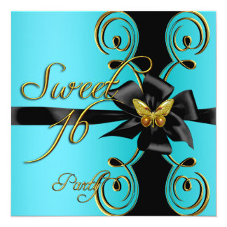Teal Blue Gold Butterfly Sweet 16 Sweet Sixteen Personalized Invitation