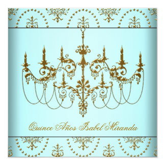 Teal Blue Gold Chandelier Quinceanera Card