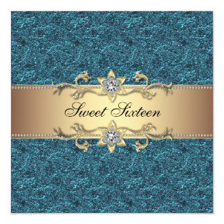 Teal Blue Gold Classy Jewel Sweet Sixteen Party 5.25x5.25 Square Paper Invitation Card