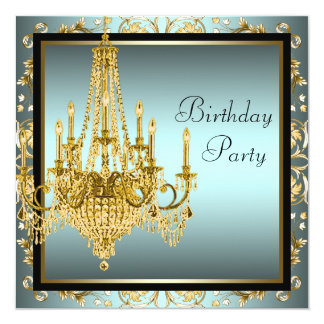 Teal Blue Gold Damask Chandelier Birthday Party Card