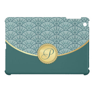 Teal Blue Gold Damask Pattern Cover For The iPad Mini