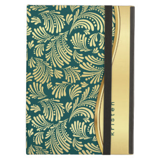 Teal Blue Gold Floral Pad Folio iPad Air Case