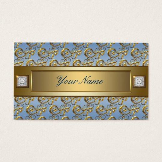 Teal Blue Gold Flourish Swirls Elegant Teal Blue Business Card