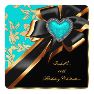 Teal Blue Gold Heart Bow Black Birthday Party Card