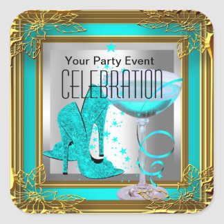 Teal Blue Gold High Heel Shoes Champagne Square Sticker