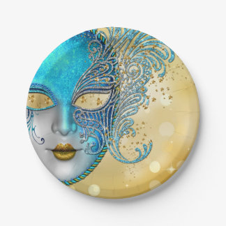 Teal Blue Gold Masquerade Party 7 Inch Paper Plate