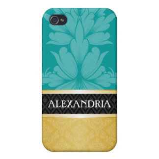 Teal Blue & Gold Personalized Damask iPhone 4 Case