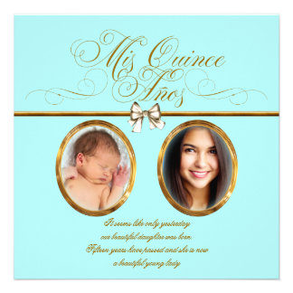 Teal Blue Gold Photo Quinceanera Invitations