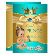 Teal Blue Gold Prince Baby Shower Brunette Boy Invitation