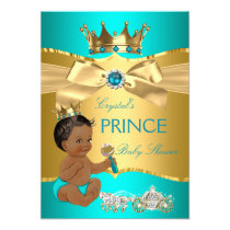 Teal Blue Gold Prince Baby Shower Ethnic Card