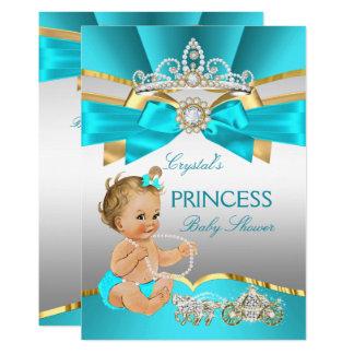 Teal Blue Gold Princess Baby Shower Blonde Card