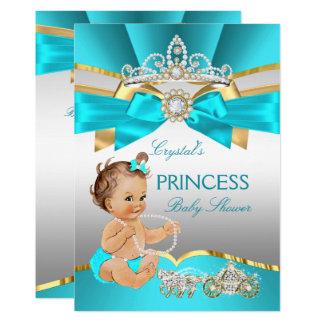Teal Blue Gold Princess Baby Shower Brunette Card