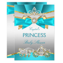 Teal Blue Gold Princess Baby Shower Carriage Invitation