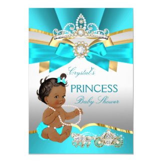 Teal Blue Gold Princess Baby Shower Ethnic Card