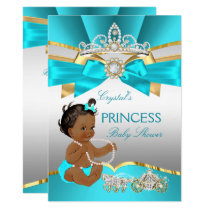 Teal Blue Gold Princess Baby Shower Ethnic Invitation
