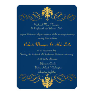 Teal Blue Gold Retro Ornate Indian Wedding Invites